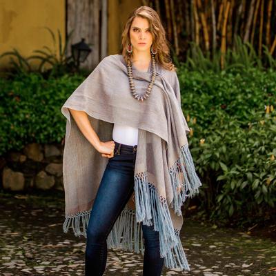 Cotton ruana, 'Natural Union in Blue' - Steel Blue Copper Cotton Ruana Fringe from Guatemala