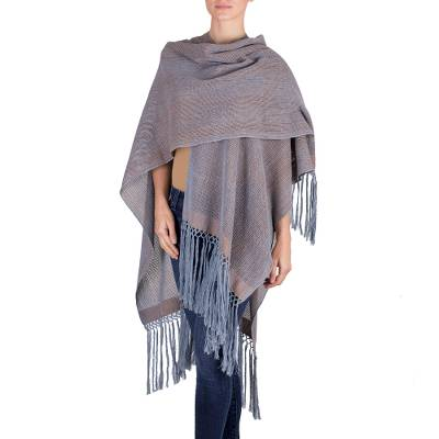 Cotton ruana, 'Natural Union in Blue' - Steel Blue Copper Cotton Ruana Fringe from Guatemala