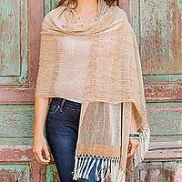 Cotton shawl, 'Natural Combination in Brown'