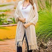 Cotton shawl, 'Natural Combination in Khaki' - Khaki Cotton Shawl with Fringes from Guatemala