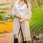 Khaki Cotton Shawl with Fringes from Guatemala, 'Natural Combination in Khaki'