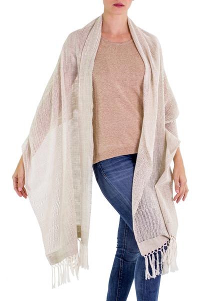 Cotton shawl, 'Natural Combination in Khaki' - Khaki Cotton Shawl with Fringes from Guatemala