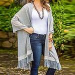 Blue and Ivory Cotton Shawl Fringe from Guatemala, 'Natural Combination in Blue'