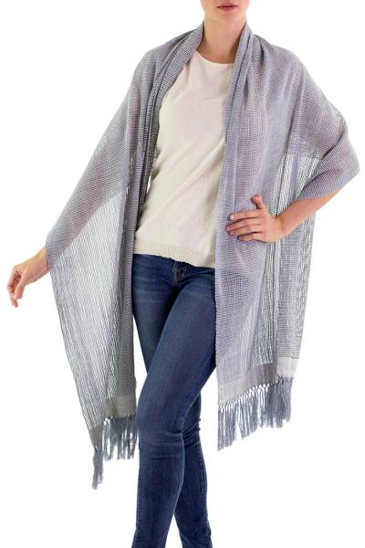 Cotton shawl, 'Natural Combination in Blue' - Blue and Ivory Cotton Shawl Fringe from Guatemala