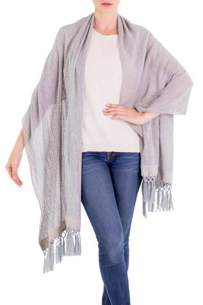 Cotton shawl, 'Natural Combination' - Steel Blue Tan Cotton Shawl with Fringe from Guatemala