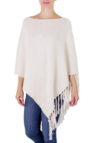 Cotton poncho, 'Spontaneous Style in Ivory' - Cotton Poncho with Fringe Ivory Color from Guatemala