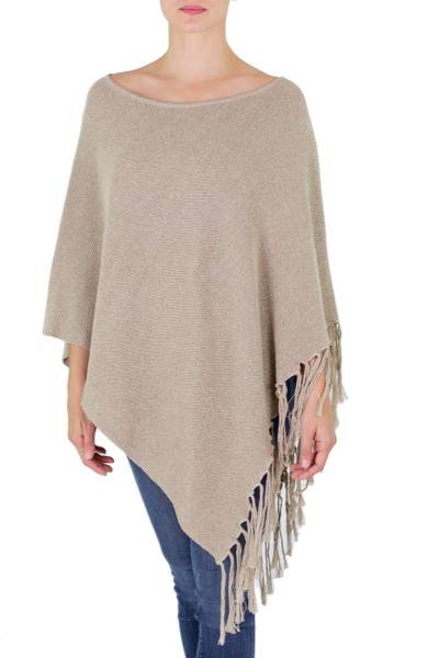 Cotton poncho, 'Spontaneous Style in Khaki' - Cotton Poncho with Fringe Beige Colored from Guatemala