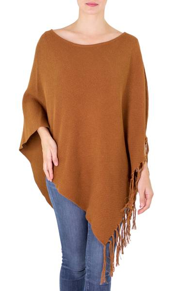 Cotton poncho, 'Spontaneous Style in Sepia' - Gingerbread Color Cotton Poncho with Fringe