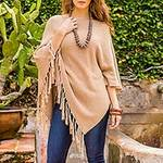 Cotton Poncho with Fringe and Tan Color from Guatemala, 'Spontaneous Style in Tan'