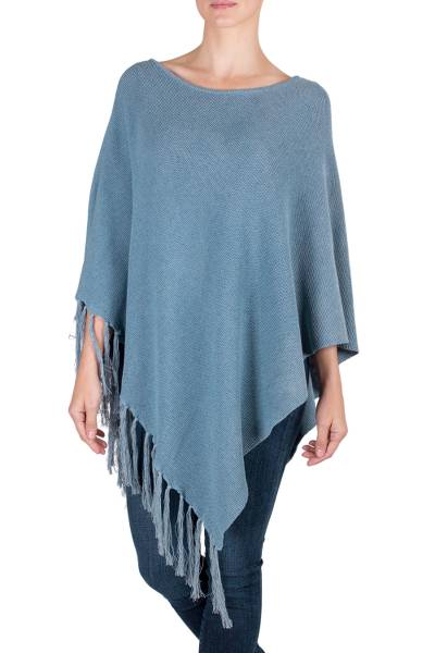 Cotton poncho, 'Spontaneous Style in Blue' - Cotton Poncho with Fringe and Blue Color from Guatemala