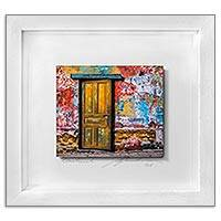 Photo collage, 'Traces of the Past' (9 in.) - 3D Photo Collage of a Door and Wall from Guatemala (9 in.)