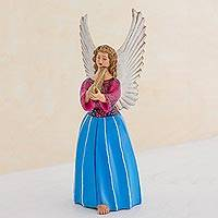 Ceramic figurine, 'Angel from Chichicastenango' (11 inch) - Guatemalan Ceramic Angel Figurine 11.75 Inches Tall.