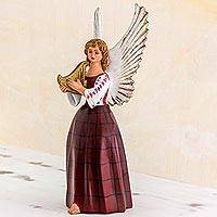 Ceramic sculpture, 'Angel of Tamahu' - Ceramic Sculpture of an Angel in a Red Dress Guatemala