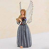 Ceramic figurine, 'Angel from San Pedro la Laguna' - Handcrafted Guatemalan Ceramic Angel Musician Sculpture