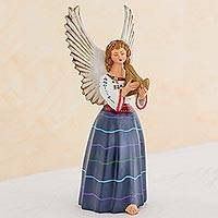 Ceramic figurine, 'Angel from San Sebastian' - Handcrafted Ceramic Angel Musician Sculpture Guatemala