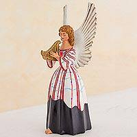 Ceramic figurine, 'Solola Angel' - Guatemalan Handcrafted Ceramic Angel Musician Sculpture