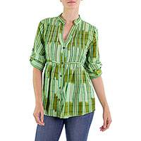 Cotton blouse, 'Verdant Island' - Green Plaid 100% Cotton Button Up Blouse