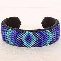 Beaded cuff bracelet, 'Blue Isle' - Blue Glass Bead Cuff Bracelet Diamond Motif from El Salvador