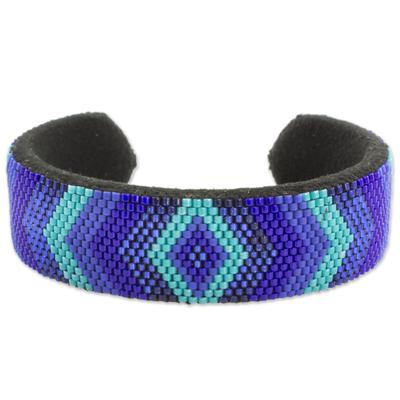 Blue Glass Bead Cuff Bracelet Diamond Motif from El Salvador