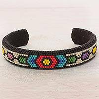Beaded cuff bracelet, 'Floral Pacific' - Glass Beaded Cuff Bracelet Hexagon Motif from El Salvador
