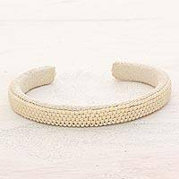 Beaded cuff bracelet, 'Antique White Horizon' - Glass Beaded Cuff Bracelet in Antique White from El Salvador