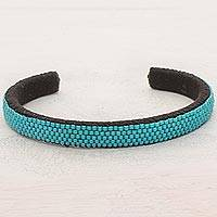Beaded cuff bracelet, 'Beautiful Horizon in Blue' - Glass Beaded Cuff Bracelet in Solid Blue from El Salvador