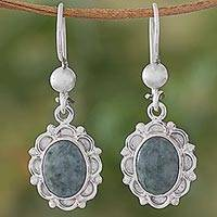 Jade dangle earrings, 'Woodland Princess' - Jade Sterling Silver Oval Shape Dangle Earrings Guatemala