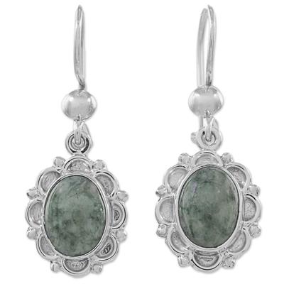 Jade Sterling Silver Oval Shape Dangle Earrings Guatemala