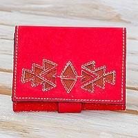 Leather wallet, 'Lively Culture in Paprika' - Geometric Leather Wallet in Paprika from Nicaragua
