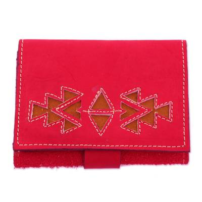 Geometric Leather Wallet in Paprika from Nicaragua