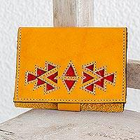 Leather wallet, 'Living Culture' - Saffron Colored Leather Wallet with Snap Closure