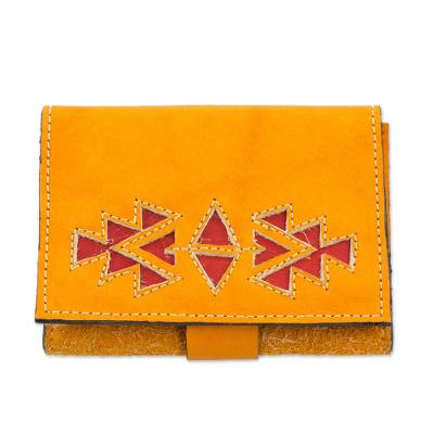 Saffron Colored Leather Wallet with Snap Closure