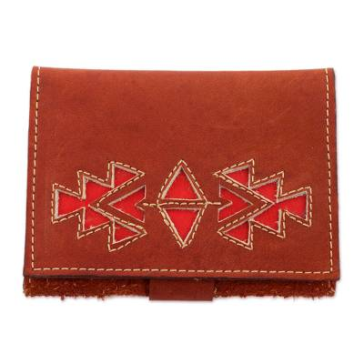 Geometric Leather Wallet in Redwood from Nicaragua