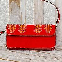 Leather sling, 'Madrone in Scarlet' - Bright Scarlet Leather Sling Bag Handmade in Nicaragua