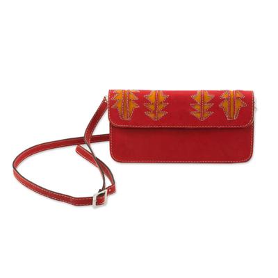 Bright Scarlet Leather Sling Bag Handmade in Nicaragua