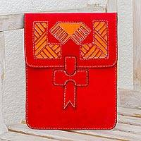 Leather portfolio, 'Historic Patterns' - Handcrafted Leather Portfolio in Paprika from Nicaragua