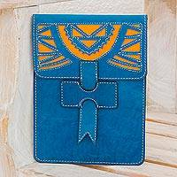 Leather portfolio, 'Banks of San Juan' - Handcrafted Leather Portfolio in Turquoise from Nicaragua