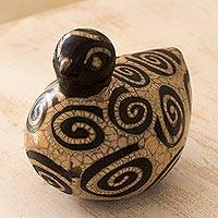 Ceramic sculpture, 'Messenger Pigeon' - Hand Made Decorative Burnish Ceramic Sculpture from Honduras