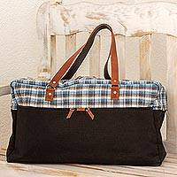 Cotton blend and leather accent travel bag, 'World Discovery' - Brown and Blue Cotton and Leather Accent Travel Bag