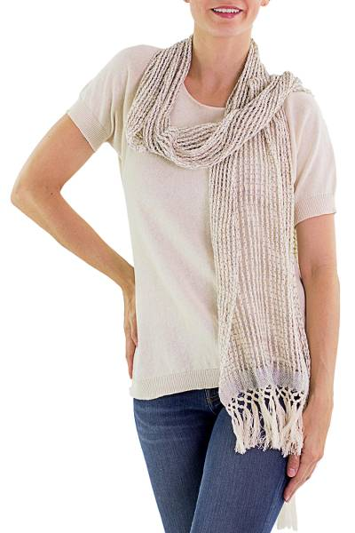 Cotton scarf, 'Subtle Illusion' - Hand Woven Recycled Cotton Scarf Champagne from Guatemala