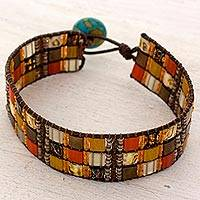 Beaded wristband bracelet, 'Caribbean Earth' - Hand Made Beaded Wristband Bracelet Multicolor Guatemala