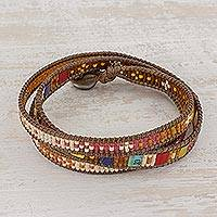 Beaded wrap bracelet, 'Colorful Dance'