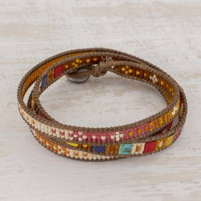 Beaded wrap bracelet, 'Colorful Dance' - Beaded Wrap Bracelet Multicolor Multi Cord from Guatemala