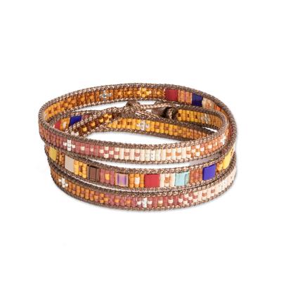 Beaded Wrap Bracelet Multicolor Multi Cord from Guatemala