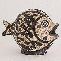 Ceramic sculpture, 'Fish of Yoro' - Hand Crafted Burnish Ceramic Sculpture of a Fish Honduras