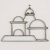 Wrought iron wall sculpture, 'Santa Lucia Domes' - Wrought Iron Wall Art Sculpture Guatemala Santa Lucia Church