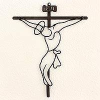 Wrought iron wall crucifix, 'Savior' - Crucifix Religious Wall Art Sculpture in Black Wrought Iron
