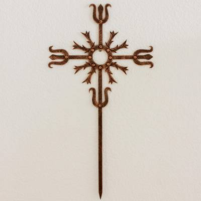 Wrought iron wall cross, 'Love Energy' - Cross Religious Wall Art Sculpture in Bronze Wrought Iron
