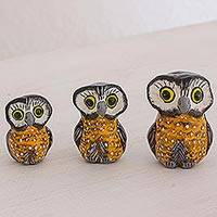 Ceramic sculptures, 'Wisdom and Luck in Orange' (set of 3) - Orange Ceramic Owl Sculptures (Set of 3) from Guatemala