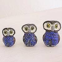 Ceramic sculptures, 'Wisdom and Luck in Blue' (set of 3) - Blue Ceramic Owl Accents (Set of 3) from Guatemala